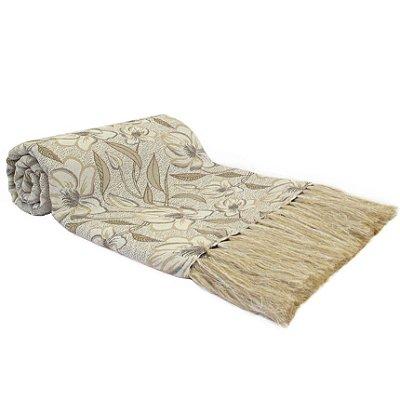 Manta Para Sofá Dupla Face Royalle Floral 130x180cm Branco/Bege