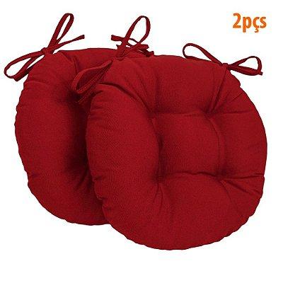 Almofada Para Assento Redondo Ø40cm - Vermelho 2 Peças