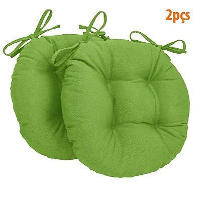Almofada Para Assento Redondo Ø40cm - Verde Limão 2 Peças