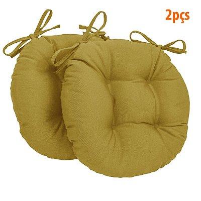 Almofada Para Assento Redondo Ø40cm - Mostarda 2 Peças