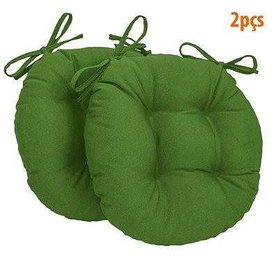 Almofada Para Assento Redondo Ø40cm - Verde 2 Peças