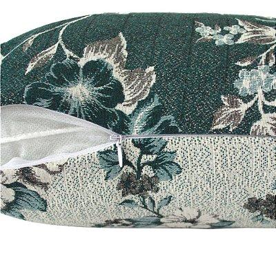 Capa de Almofada Dupla Face Jacquard Flores 40x40cm Verde/Verde Claro