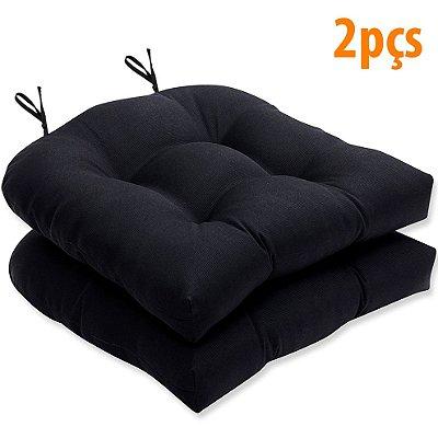 Almofada Para Assento Futton Solid 40x40cm Preto 2Pçs