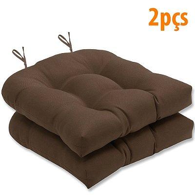 Almofada Para Assento Futton Solid 40x40cm Marrom 2Pçs