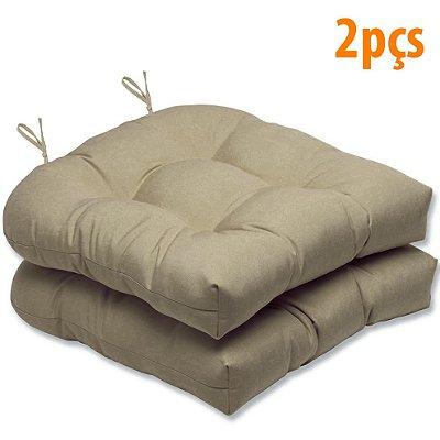 Almofada Para Assento Futton Solid 40x40cm Bege 2Pçs