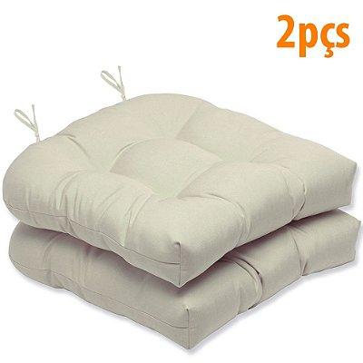 Almofada Para Assento Futton Solid 40x40cm Branco 2Pçs