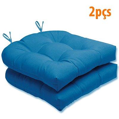 Almofada Para Assento Futton Solid 40x40cm Azul 2Pçs