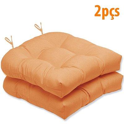 Almofada Para Assento Futton Solid 40x40cm Laranja 2Pçs