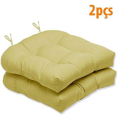 Almofada Para Assento Futton Solid 40x40cm Mostarda 2Pçs