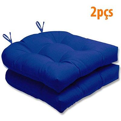 Almofada Para Assento Futton Solid 40x40cm Azul Royal 2Pçs