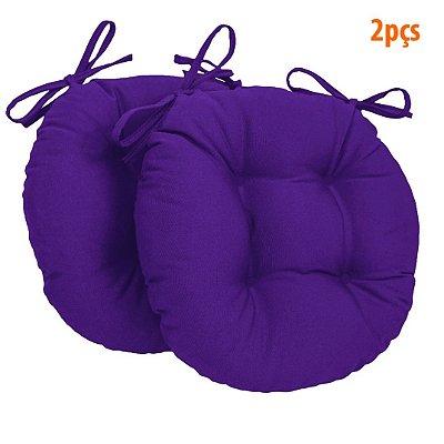 Almofada Para Assento Redondo Ø40cm - Violeta 2 Peças