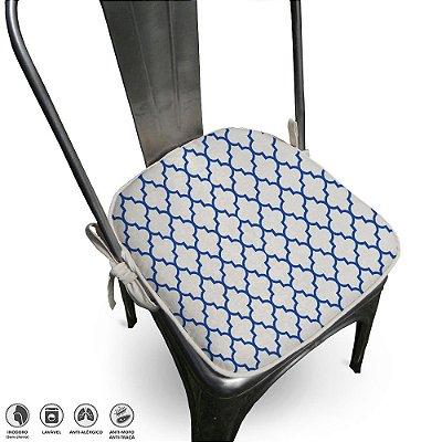 Assento Para Cadeira Algodão Agriz 40x40cm Azul