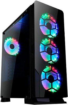 GABINETE LIKETEC DIAMOND RGB GAMER - 06 COOLER INCLUSO + SUPORTE VGA