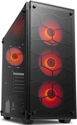 GABINETE REDRAGON WHEELJACK GC-606BK-R RED - 04 COOLERS INCLUSO