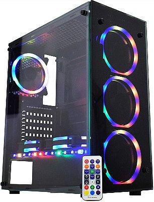 GABINETE K-MEX ATLANTIS SYNC CG-05N9 CG05N9RH0010B0X RGB - 03 COOLERS INCLUSO + FITA LED