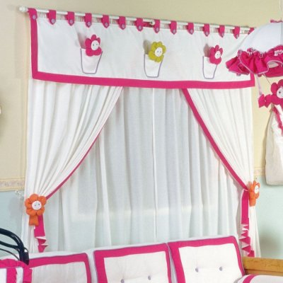 Cortina Quarto Bebê Menina Flor no Vazo 2.00 x 1.60 Altura - 5 Pçs - Forrada