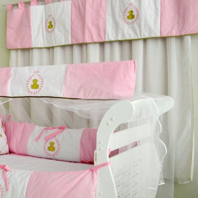 Cortina Quarto de Bebe URSA PRINCESA Rosa Forrada 5 pçs - 2.00 x 1.60 altura