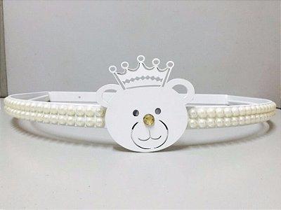 Dossel Ursinho Branco + Mosquiteiro Para Quarto De Bebê