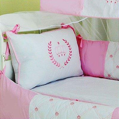 Kit Berço Americano Menina Coroa Realeza Rosa 10 Pcs / com Mosquiteiro 100% Algodão
