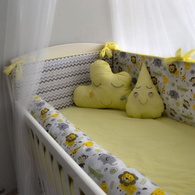 Kit Berço com Nuvem Chevron Amarelo e Cinza Animais 12 Pçs 100% Alg. Padrão Americano