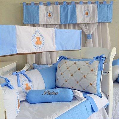 Kit Berço Urso Principe Teddy Azul Claro + Cortina - 15 Pçs Americano
