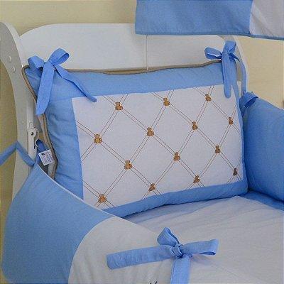 Kit Mini Berço Canaã Menino Urso Principe Teddy Azul Claro 7 Pcs