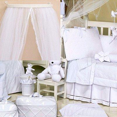 Dossel + Kit Berço Bear Branco 9 Pçs Luxo 100% Algodão 200 Fios