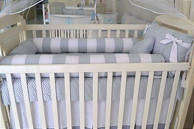 Quarto de Bebê Menino CHEVRON PATH CINZA Completo 23 Pçs com Cama Babá 100% Algodão