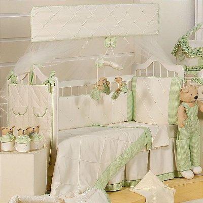 Kit de Berço Luxo Baby Dream 9 Pçs Piquezinho 200 Fios 100% Algodão
