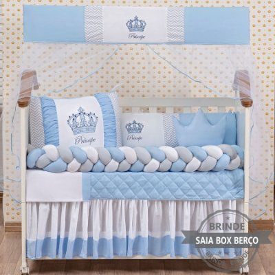Kit de Berço Trança Principe Coroa Azul Claro 11 Pçs  - Saia de Brinde