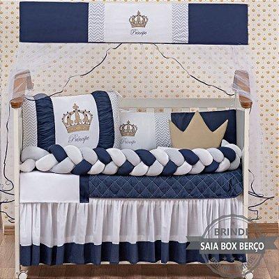 Kit de Berço Trança Principe Coroa Marinho 11 Pçs  - Saia de Brinde