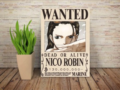 Placa Decorativa Procurado Nico Robin - One Piece