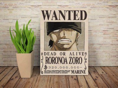 Placa Decorativa Procurado Roronoa Zoro - One Piece
