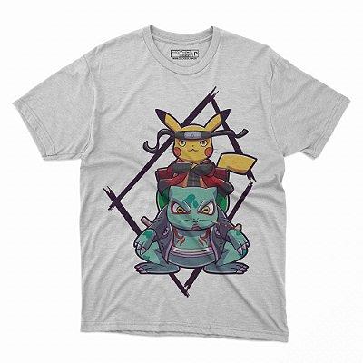 Camiseta Pikachu Naruto e Bulbasaur Gamabunta