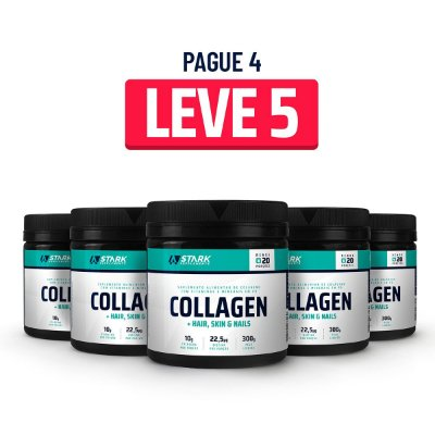 Kit 5x Collagen + Hair, Skin & Nails (300 g) - Colágeno com Vitaminas em pó
