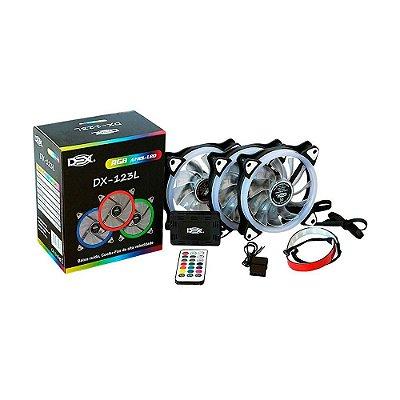 Kit Cooler Fan Conjunto Com 3 Unidades Rgb 12cm Com Controle E Com Fita De Led Rgb 30 Cm - Dx-123l