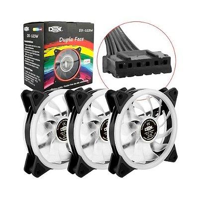 Kit Cooler Fan Conjunto Com 3 Unidades Rgb 12cm Com Controle E Com Fita De Led Rgb 30 Cm - Dx-123w