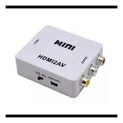 Conversor Mini De Hdmi Av Rca Vídeo 1080p C/ Audio Hdmi X Av