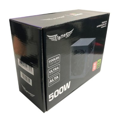 Fonte Gamer Atx Tronos 500pfca 500w Real Cooler 120mm Bivolt