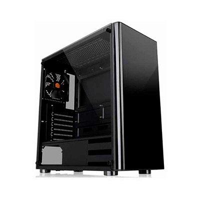 Gabinete Gamer Thermaltake V200, Mid Tower, S-fan, Vidro Temperado, Black, Com Fonte 500w, Ca-3k8-50m1wz-01