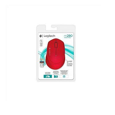 Mouse Logitech M280 Sem Fio Vermelho 1000dpi