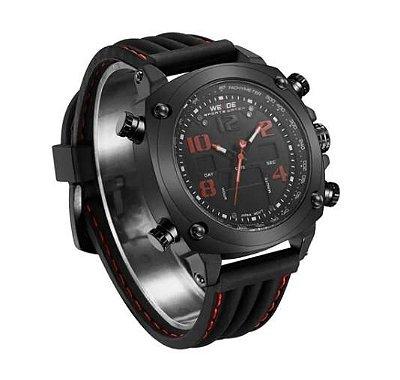 Relógio Masculino Weide Anadigi Wh-5208 Preto E Vermelho