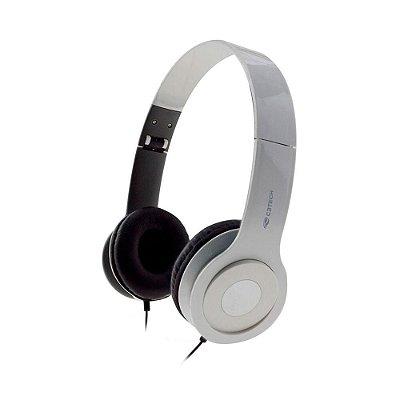 Fone Headset C3 Tech Dobrável Com Microfone Branco Ph-100wh
