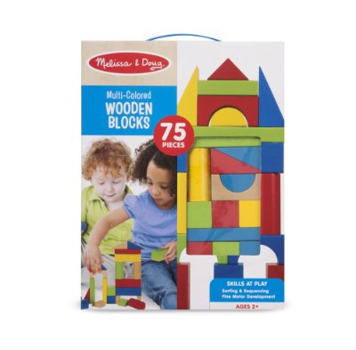 Multi-Colored Wooden Block - 75 peças