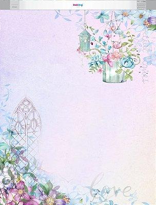 Fundo Fotografico - Floral Aquarela (1,60 x 2 metros)