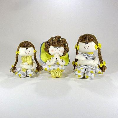 Kit Boneca Sulas E Anjinha Coleção Cinza E Amarelo