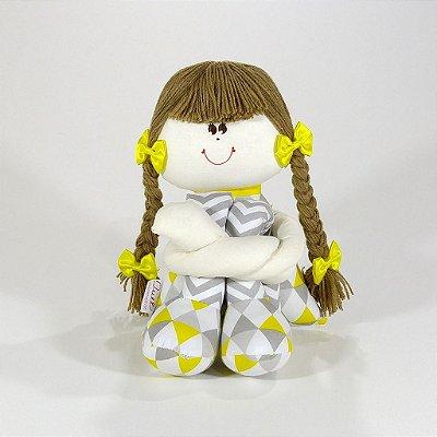 Boneca De Pano Sula Chevron Cinza E Amarelo