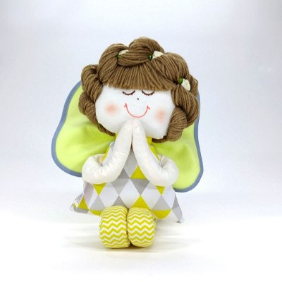Boneca de Pano Anjinha Chevron Cinza E Amarelo