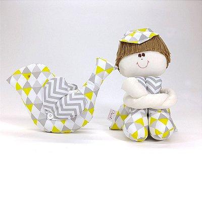 Kit Passarinho + Boneco Sulo Chevron Cinza E Amarelo