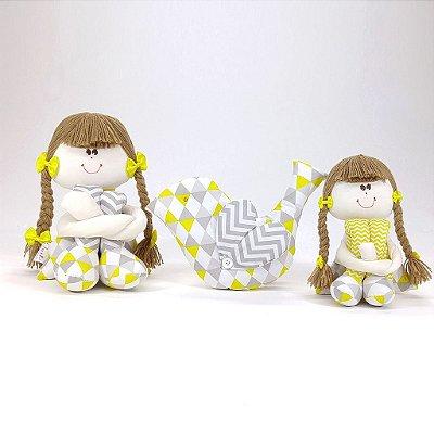 Kit 03 Peças: Bonecas Sulas + Almofada Passarinho Chevron Cinza E Amarelo
